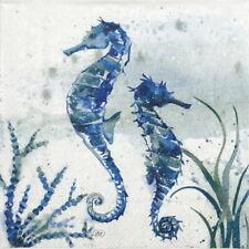 4x Paper Napkins for Decoupage - Aquaworld sea horse