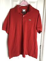Lacoste Mens Solid Red Short Sleeve Pique Polo Shirt- size XXL / sz 7