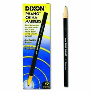 Dixon Phano Peel-Off China Marker Pencils Black 12-Count 00077