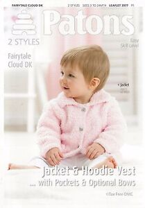 Hand Knitting PATTERN ONLY Patons Baby Childrens Jacket Hoodie Vest 3977 New