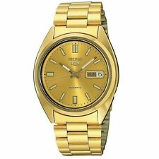 Seiko 5 Automatic Gold Dial Gold PVD Stainless Steel Mens Watch SNXS80K1