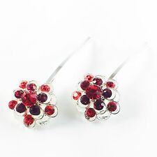 USA Bobby Pin Rhinestone Crystal Hair Clip Hairpin Jeweled Charming Silver Red