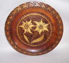Vintage SWISS Wooden POKER WORK Decorative WOOD PLATE Edelweiss Flower Carving