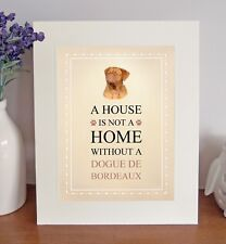Dogue de Bordeaux 8 x 10 A HOUSE IS NOT A HOME Picture 10x8 Dog Print Fun Gift