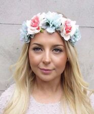 Mint Green Blush Pink Peony Rose Flower Garland Headband Hair Crown Boho 2691