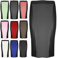 0e65e6bbe Womens Ladies PVC Wetlook Panel Bodycon Basic Plain Pencil Tube Long Midi  Skirt