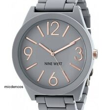 Women's Nine West Matte Grey Rubberized Bracelet Watch, Analog,Quartz