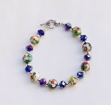 Stunning Cobalt Blue Crystal & Cloisonné Italian Enamel  Bracelet