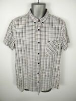 MENS FARRELL WHITE/MULTI CHECKED BUTTON UP SHORT SLEEVED CASUAL SHIRT UK L LARGE