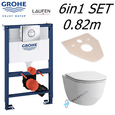 GROHE 0.82m WC FRAME + LAUFEN PRO RIMLESS WALL HUNG TOILET PAN SLIM SOFT SEAT