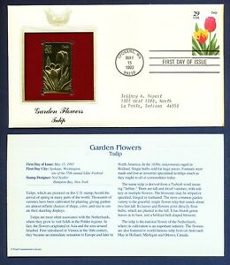 1993 Tulip Garden Flower  - 22Kt Gold Golden FDC Cover stamp - Toned at Right