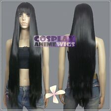 100cm Black Heat Styleable long Cosplay Wigs With Bangs  VL_001