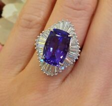 6.14 ct Cushion Shape Tanzanite and Diamond Ring in Platinum - HM1331