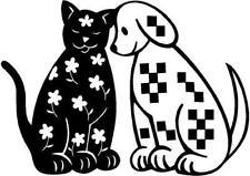 Cat & Dog Gingham Vinyl Decal Car Truck Window Sticker