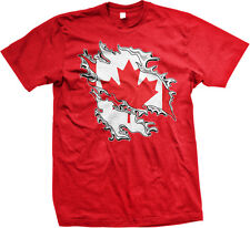 Canadian Flag Colors Canada Ripped Torn Shirt Country Team CAN Men's T-Shirt
