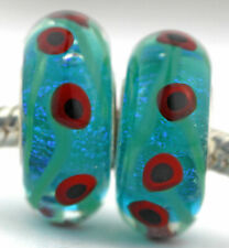 Matched pair POPPY FIELD glass charm beads Mandy Ramsdell .925 silver european