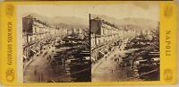 Italia Port Da Messina Foto Giorgio Sommer c1865 Stereo Vintage Albumina
