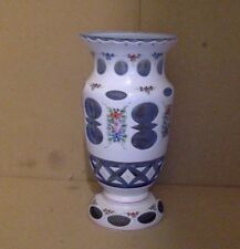 Vintage Vase. Bohemian Glass. White Cut to Blue. Dainty Floral Designs.