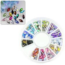 Wheel 12 Mixed Color Nail Art Horse Eye Rhinestone Nail Tips Decoration Manicure