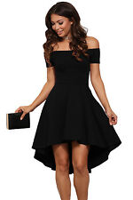 New Stunning Black Off shoulder Skater Dress Size 8 10 12 14 16 18 20 UK