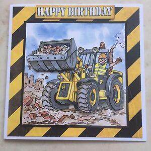 "Handmade Birthday 3D decoupage digger truck JCB driver card humorous 6"" x 6"""