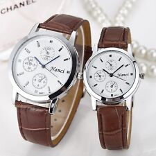 Faux Leather Couple Men`s & Women's Watch Analog Quartz Casual Wrist Watches