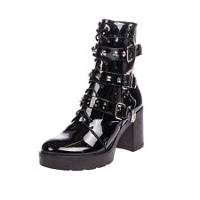 RRP €120 LAURA BIAGIOTTI Ankle Boots EU40 UK7 US10 Heel Varnished Strappy Studs
