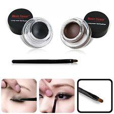 2Pcs Eyeliner Black & Brown Gel Cream +Brush Makeup Set Waterproof for Lady Eyes