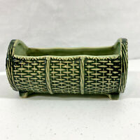 McCoy Pottery Ceramic Oblong Basket Weave Green Planter 7.5""