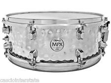 "Mapex MPST4558H MPX 14"" x 5.5"" Hammered Steel Snare Drum, Chrome Finish"