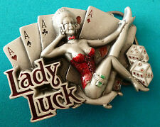 LADY LUCK BELT BUCKLE pewter fits all Snap belt Gambling Cards Ace Dice Licenced