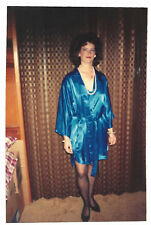 Found PHOTO Young Woman Blue Satin Robe & Pearls