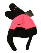 Nike Infant Racer Pink/Black Fleece Chin Strap Hat & Mittens Set