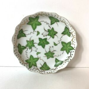 """Vintage Saucer Nut Dish Trinket Plate 5"""" Green 5-Point Leaves Gold White Cracked"""