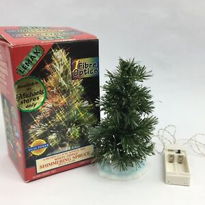 Lemax Christmas Village Spruce Tree 6 Inch White Tipped Shimmering Multi Color