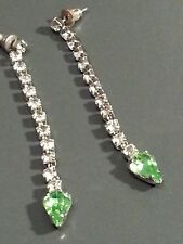 Pendientes con Pasador espaldas Colgante base de metal de cristal Multi-Color Verde Claro