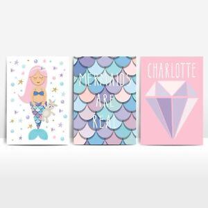 Set of 3 Mermaid Prints Girls Kids Room Decor Prints Pink Personalised