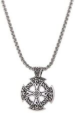 Celtic Knot Cross Pendant Necklace Antique Silver Charm Stainless Steel Chain