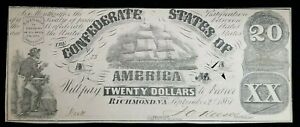 1861 $20 CSA Note Type 18 Canceled