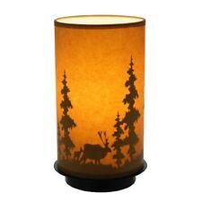 "Paper Oil Upright Lamp  Moose Pine Trees Cabin Light Decor 11 """