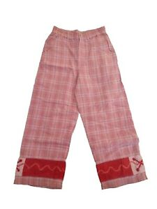New Oilily Plaid Cotton Pink Girls Vintage Lined Pants 104 140 164