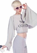 Wildfox Desperate Mornings Angel Bell Sleeve Crop Sweater I Need Coffee Small