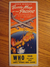 WHO RADIO BATTLE MAP OF THE PACIFIC  WWII  BJ PALMER CHIROPRACTIC