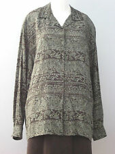 RENA ROWAN for SAVILLE Size 12 Gray Purple Long Sleeve Blouse