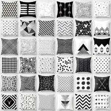 """18"""" Cubierta Cojín geométrica de poliéster negro y blanco Tirar Funda de Almohada Cuadrada"""