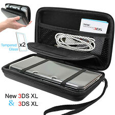 Nintendo NEW 3DS XL Hard Case EVA Cover Shell+2X Tempered Glass Screen Protector
