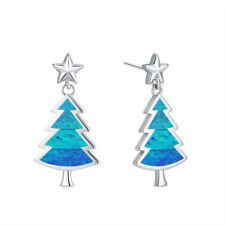 Fire Simulated Opal Ear Stud Earrings Fashion Christmas Tree Silver Filled Blue