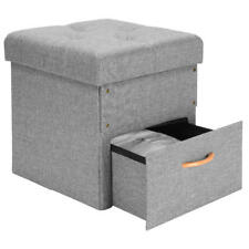 Sortwise® Folding Storage Ottoman with One Drawer Foot Rest Stool, Birthday Gift