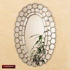 "Large Wall Oval Mirror style Cuzcaja, ""Astral King Sun""- wood bathed Silver Leaf"