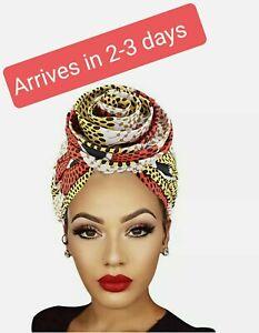 Ankara Print style African stretch Head Wrap Hats scarf - Hijab Turban chemo cap